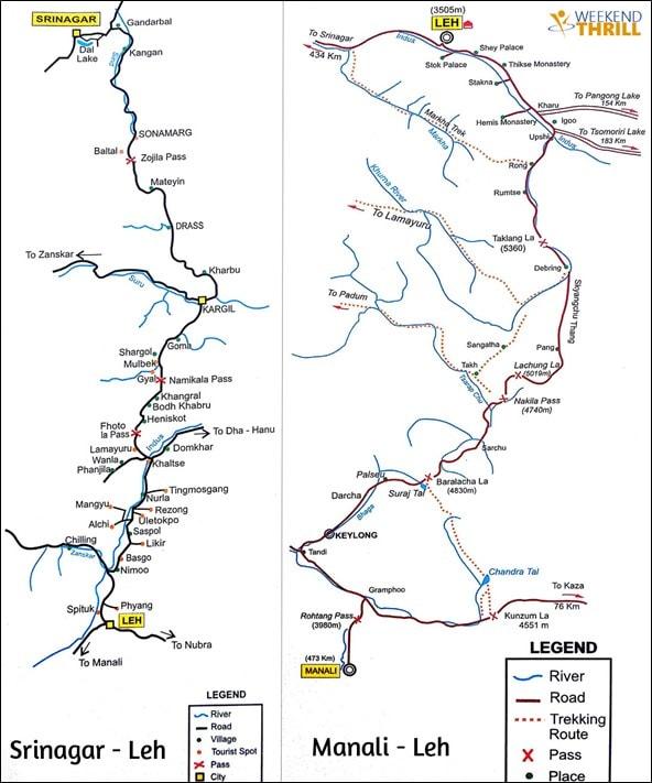 Leh Ladakh Road Trip Routes